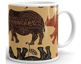 Rhino Mug, Rhino Coffee Mug, Rhino Cup, Rhino Coffee Cup, Rhino Gifts, Rhino Lover, Rhino Birthday, Rhinoceros Mug, Rhinoceros Coffee Mug