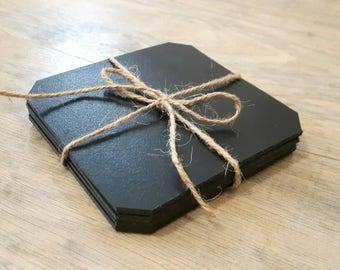 Black solid leather coasters set of 4, handmade leather coasters, raw edge leather finish