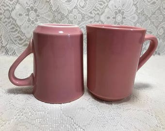 Rose Fiesta Denver Mug , The Homer Laughlin China Company HLC , Vintage Restaurant Ware , Lot of 2,  Coffee Cup , HLC , Retired Color Pink