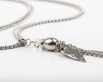 Long necklace, stainless steel, Swarovski Crystal