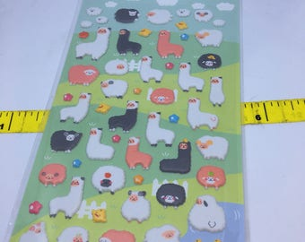 One sheet of puffy Alpaca & Sheep stickers Made in Korea for scrapbooks, planners or journals Kawaii Japan Sticker
