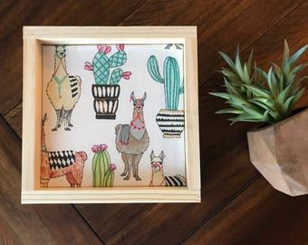 Llama/Alpaca and Cactus Wood Sign