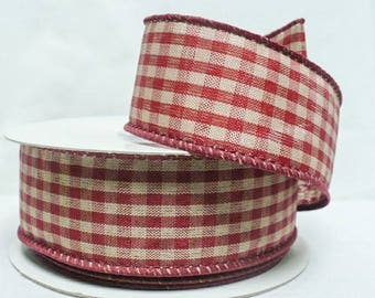 "Country checker, country cranberry color checker wired ribbon 1.5""  wide"