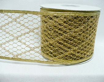 Wide gold wired ribbon, metallic gold diamond shape net wired ribbon, metallic gold net, holiday ribbon, 15 yards