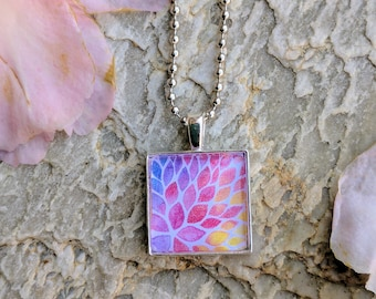 Square pendant. Water color. Silver chain. Gift for her. Unique gift.