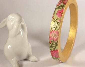 Washi paper and wood Bangle Bracelet