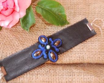 Black leather bracelet, bracelet with Soutache soutache, soutache bracelet, silver bracelet with flower, blue flower bracelet