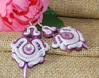 Soutache dangling earrings, Soutache earrings, boho earrings, gift for her