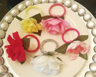 Set of 6 Napkin Rings, Napkin Rings With a Single Rose, Wedding Napkin Rings, Decorative Napkin Rings
