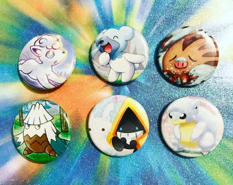 Choose Your Buttons - Set Of Six Ice Type Pokemon Buttons!
