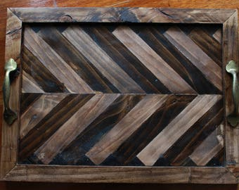 reclaimed wood chevron tray