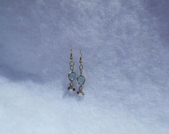 Vintage Connectors with Ancient Roman Glass, Garnet, and Rainbow Moonstone