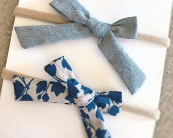 Baby Headband Set - Cotton Classic Bows in Chambray & Grey Floral - Baby Headbands Baby Bows Soft Baby Bow Baby Accessories Baby Bow Clips