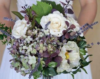 Lavender Ivory Bouquet, Purple Bouquet, Garden Bouquet, Wedding Bouquet, Silk Flower Bouquet, Lavender Bouquet