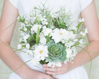 Succulent Bouquet & Coordinating Boutonniere, Wildflower Bouquet, White Bouquet, Wildflower Bouquet Wedding, Wedding Bouquet, Bridal Bouquet