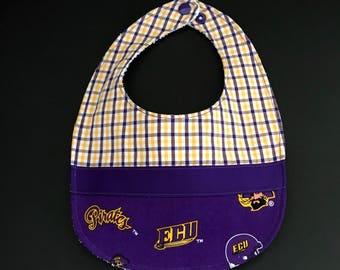 Baby Bib, ECU Baby Bib, Plaid Purple & Gold Baby Bib, Plaid Bib, ECU Pirates Bib, Pirates Baby Bib, ECU Pirates Baby Bib