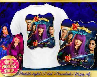 Shirt Printable Descendants 2 Party, Digital Design , T Shirt Descendants Birthday,Descendants Custom Shirt,