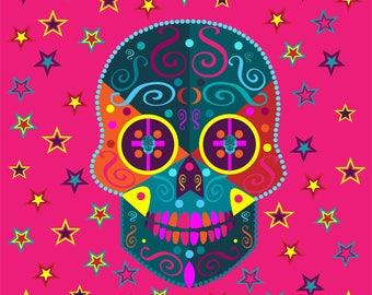 Colorful skull icon with stars, vector illustration