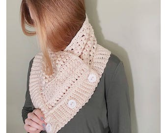 The Stacy Cowl / Button Cowl / Crochet Button Cowl / Cozy Cowl / Hygge Cowl /Made To Order Cowl / Custom Cowl / Crochet Cowl