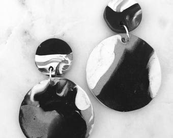 Black and White Clay Earrings