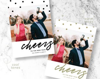 Cheers to the New Year Holiday Photo Cards