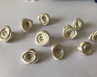Satin ivory Ribbon rose 10 to 15 mm in size
