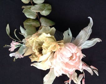 /Sposa/Pettine bridal/wedding/decorative hair hairstyle Bridesmaids/pink silk/Chaplet