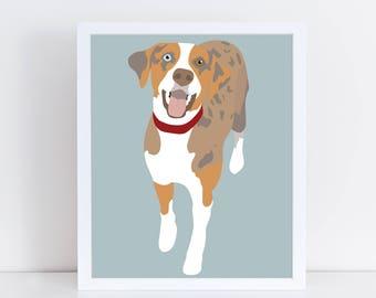 Custom Pet Portrait, Pet Illustration, Custom Dog Portrait, Dog illustration, Personalized Pet Print, Dog Art, Gift for Dog Lovers