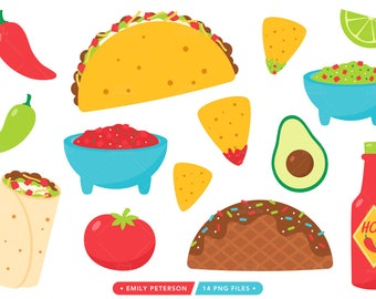 Taco Tuesday Clip Art, Taco Clipart, Fiesta Graphics, Burrito Clipart - Commercial Use, Instant Download