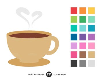 50% OFF SALE! Coffee Clip Art, Coffee Mug Clipart, Coffee & Donuts Clip Art - Commercial Use, Instant Download