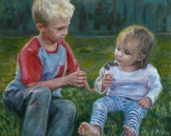 Turn photo into painting, turn photo into canvas, commission painting, custom portrait, baby portrait, custom child painting