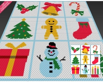 Winter Bundle crochet blanket pattern; c2c, cross stitch; graph; pdf download; no written counts or row-by-row instructions