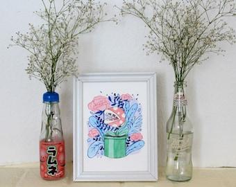 Pastel Piranha Plant ~Original Painting~ Watercolour and Gouache Illustration