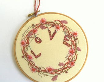 Love Wreath, Embroidery Art, Wall Art, Hand Embroidery, Hoop Art, Hanging Embroidery