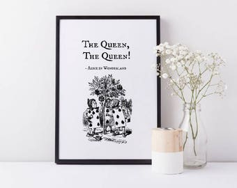 Framed Alice In Wonderland Card Soldiers Wall Art Print | The Queen, The Queen! Quote | Wonderland Gift | Home Decor | FREE UK SHIPPING |