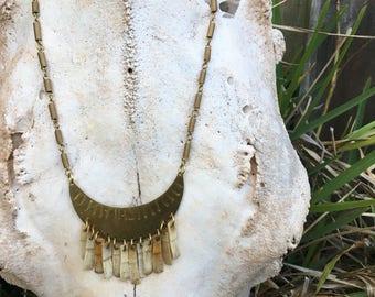 brass armadillo bone necklace bone jewelry