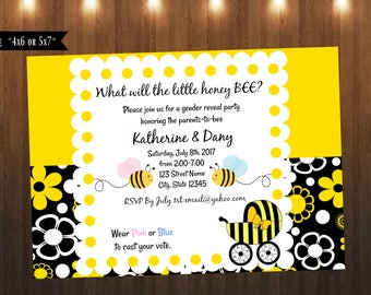 Bumble Bee Gender Reveal Invitation| Gender Reveal Invitation|It's A Girl|It's A Boy(READ Item Details)