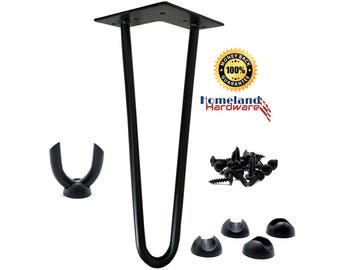 "12"" Hairpin Legs 1/2"" thick [LEG PROTECTORS + SCREWS included] (Set-of-4) [Satin Black]"