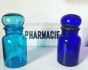 Large apothecary jar hermetic vintage blue. 1960's / 1970's. Cobalt blue. Made in Belgium.