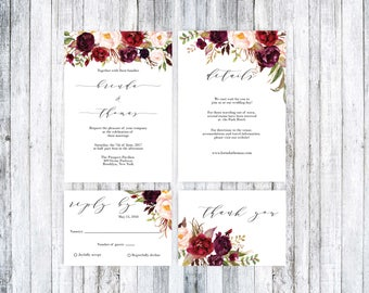Printable Wedding Invitation, Wedding Invitation Template, Wedding Invitation Suite, Marsala wedding, Boho wedding invitation, Boho wedding