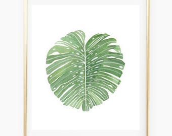 Monstera Deliciosa - Watercolor Art Print, monstera decor, trending now,monstera leaf, living room wall art,tropical, living room wall art,