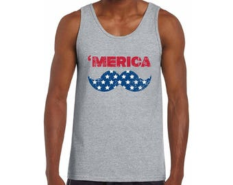 USA Merica Tank Tops for Men USA Graphic Tank Tops America Fourth of July Hipster tank top Mustache Red White Blue