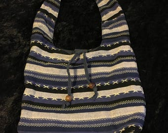 Vintage 1980s Blue, Grey and White Striped Cotton Purse