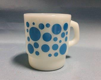 RARE Fire King Blue Dots Mug, Fire King Stacking Mug