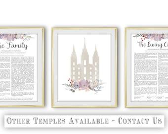 Salt Lake Temple The Family Proclamation The Living Christ Set of 3 LDS Flower Grey Peach Digital Print Art Printable Art Wall Decor