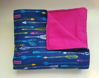 Baby/Toddler Blanket, Arrows, Baby Shower Gift, Pink, Blue