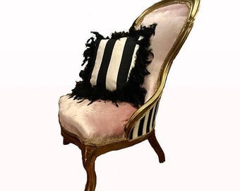 ON SALE Antique Victorian French-styled refinished parlor chair/side chair/vanity or boudoir chair