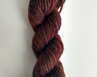 Yarn FREE SHIPPING Hand dyed brown worsted yarn Ready to ship