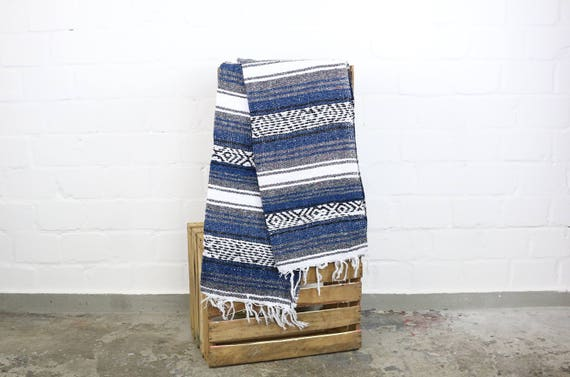 Solid woven Navajo blanket from Mexico Sarape 180 x 70 cm dark blue