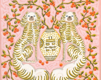 Green scalloped dogs on pink with oranges